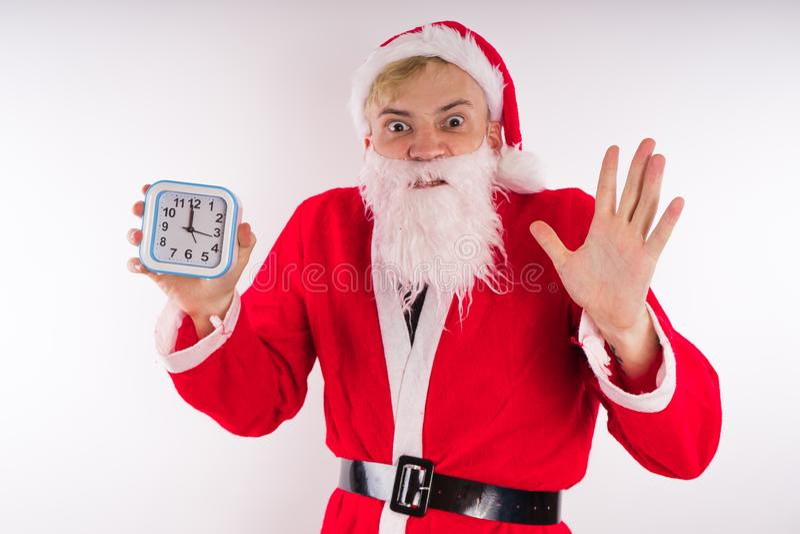 tła Claus wizerunku Santa wektorowy biel Szczęśliwy nowy rok i Wesoło boże narodzenia! zdjęcia stock