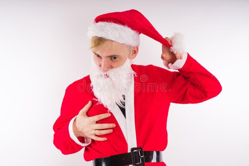 tła Claus wizerunku Santa wektorowy biel Szczęśliwy nowy rok i Wesoło boże narodzenia! obraz stock