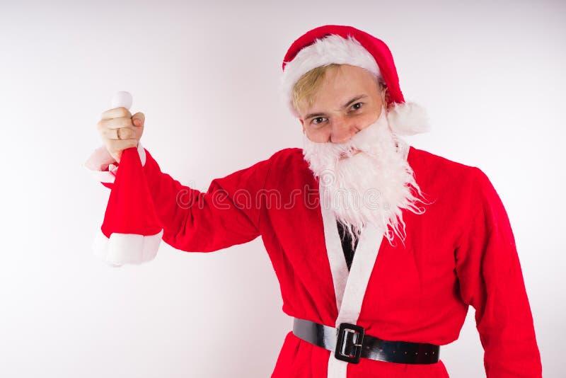 tła Claus wizerunku Santa wektorowy biel Szczęśliwy nowy rok i Wesoło boże narodzenia! obrazy stock