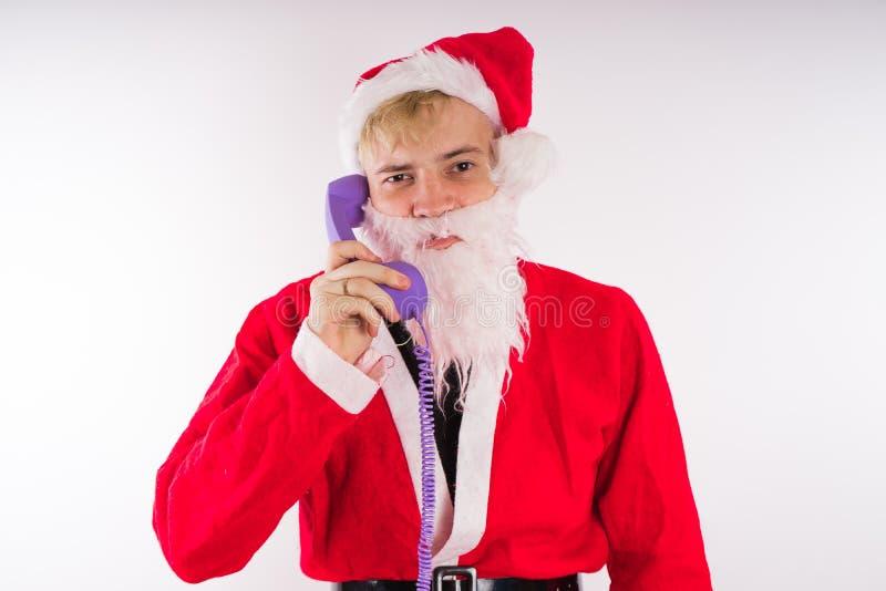 tła Claus wizerunku Santa wektorowy biel Szczęśliwy nowy rok i Wesoło boże narodzenia! zdjęcie stock