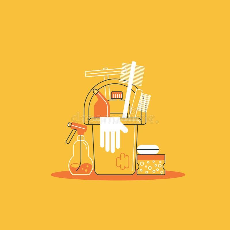 tła cleaning płótna nowe pomarańczowe gąbek dostawy royalty ilustracja