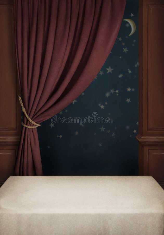 tła cur pokoju stołu okno royalty ilustracja