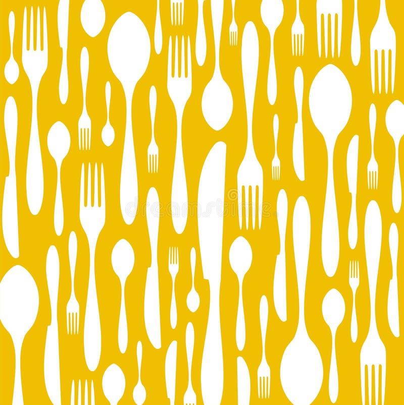 tła cutlery wzoru kolor żółty ilustracji
