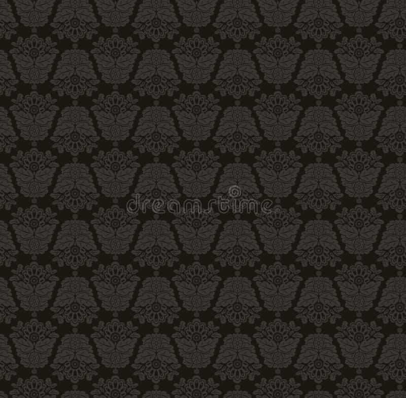 tła czarny damasc szarość bezszwowe ilustracja wektor