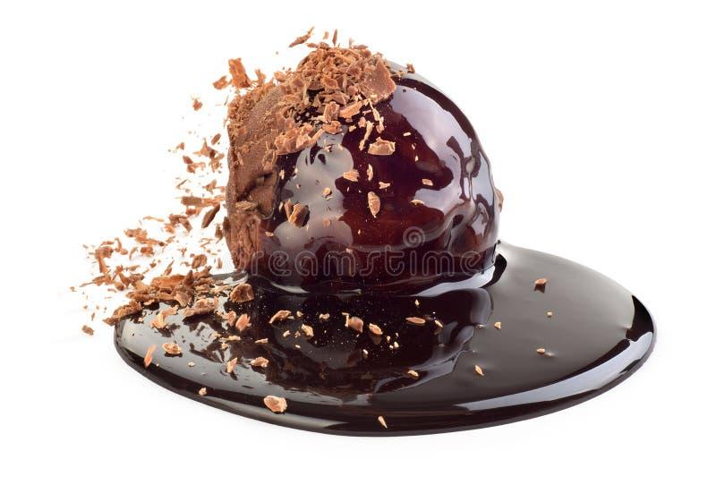 tła czekolady zakończenia śmietanki lód odizolowywał w górę biel obraz royalty free