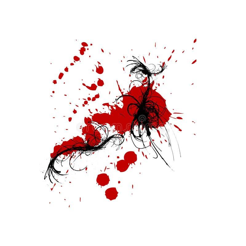 tła czerń atramentu czerwoni splats zawijasy ilustracja wektor