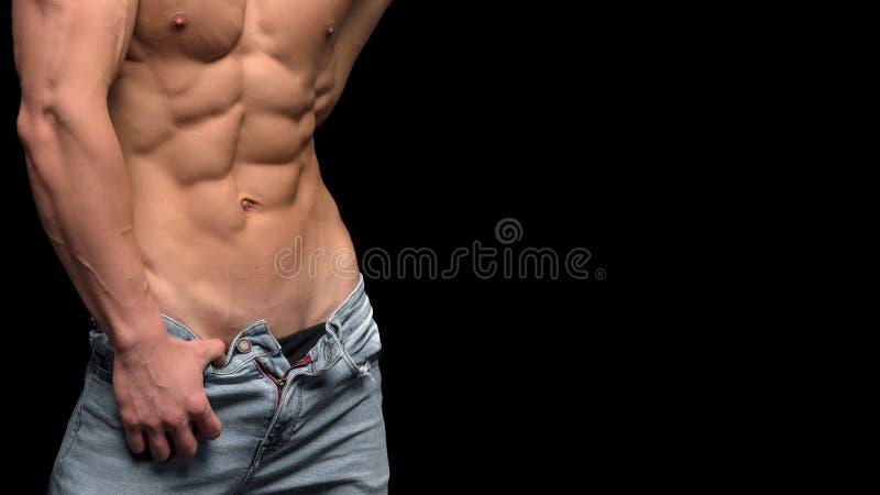 tła czerń odosobniona męska mięśniowa półpostać fotografia royalty free