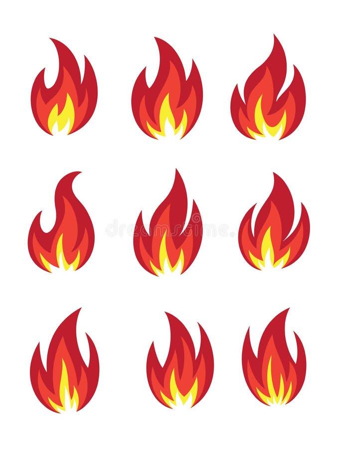 tła czerń ogienia ikony ilustracyjny setu wektoru biel ilustracji