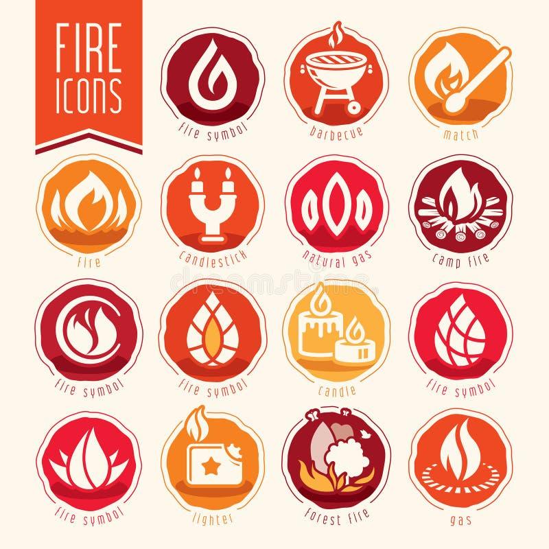 tła czerń ogienia ikony ilustracyjny setu wektoru biel ilustracja wektor