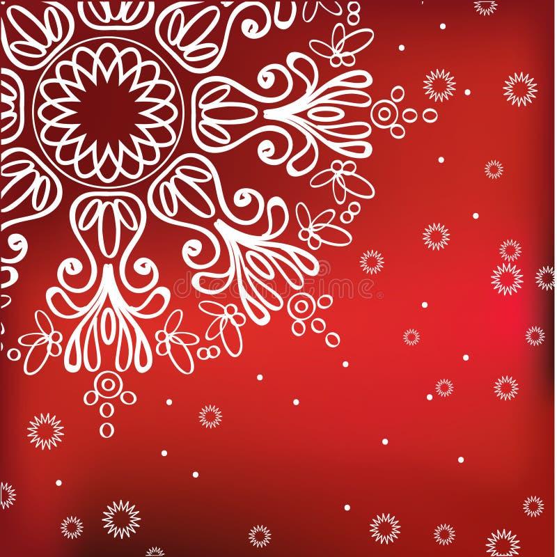 tła czerwona płatka śniegu zima ilustracja wektor