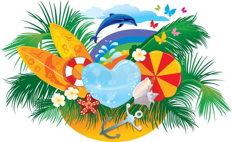 tła delfinu palm lato surfboards ilustracja wektor