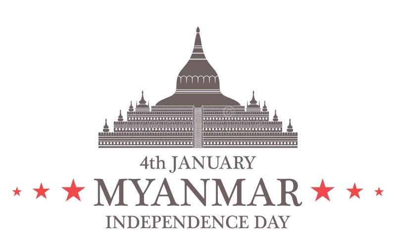 tła dzień grunge niezależność retro Myanmar royalty ilustracja