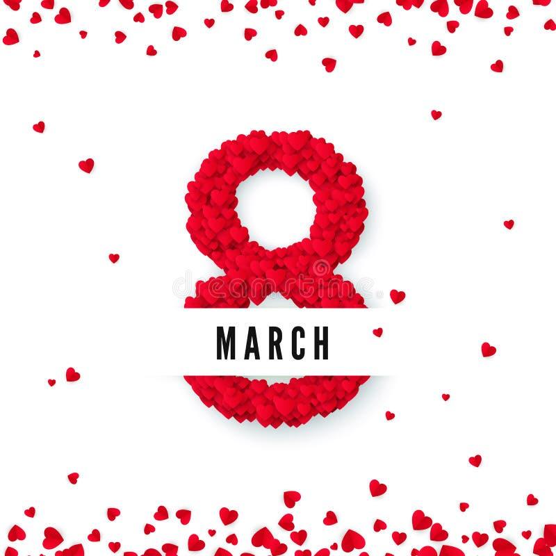 tła dzień międzynarodowe czerwieni znaczka białe kobiety Marzec 8 powitania pocztówka Osiem zrobią serca Strona internetowa sztan ilustracji