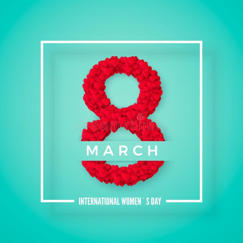 tła dzień międzynarodowe czerwieni znaczka białe kobiety Marzec 8 powitania pocztówka Strona internetowa sztandaru pojęcie równie ilustracja wektor