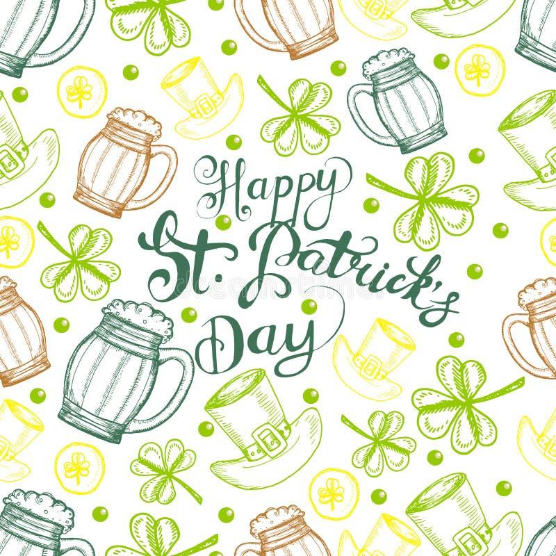 tła dzień Patrick s st Wektorowego bezszwowego deseniowego th irlandzcy symbole St Patrick wakacje ilustracja wektor