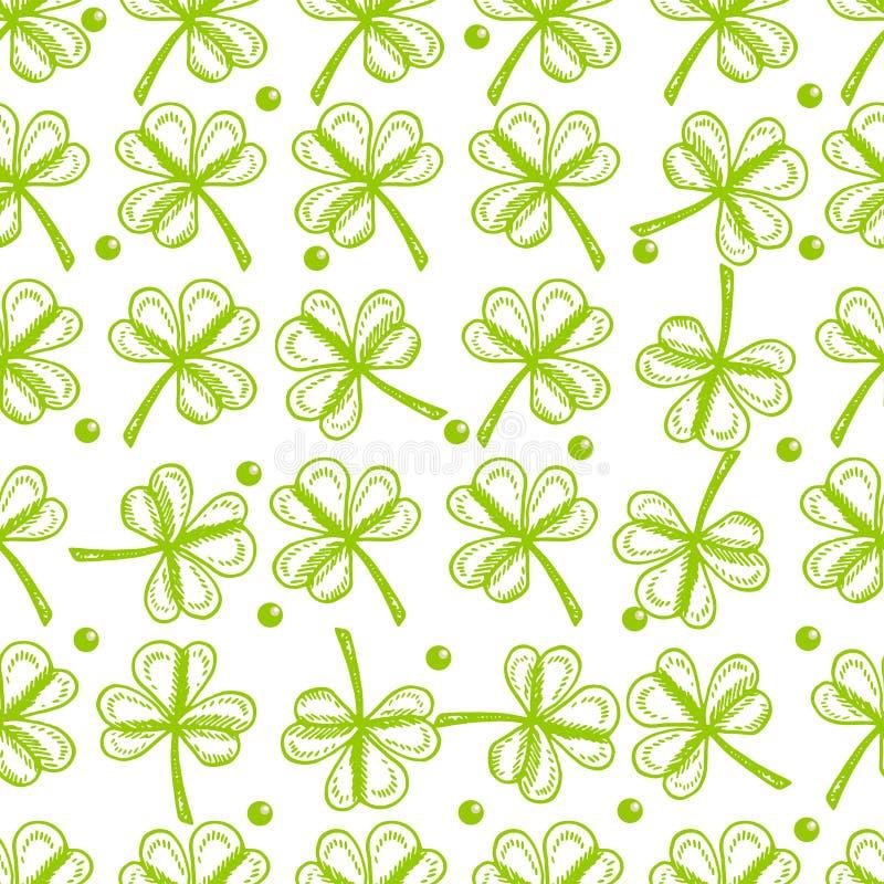 tła dzień Patrick s st Wektorowi bezszwowi deseniowi symbole St Patrick wakacje tak jak zielony shamrock opuszczają ilustracja wektor