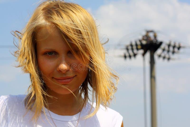 tła dziewczyny portreta s niebo zdjęcie royalty free