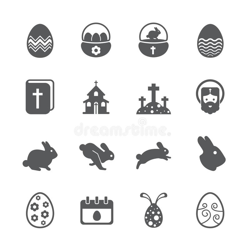 tła Easter ikony odosobniony ustalony biel royalty ilustracja