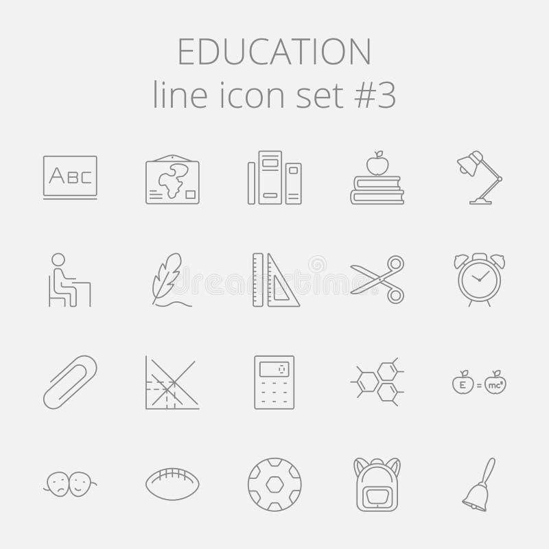 tła edukaci ikony odosobniony ustalony biel ilustracja wektor