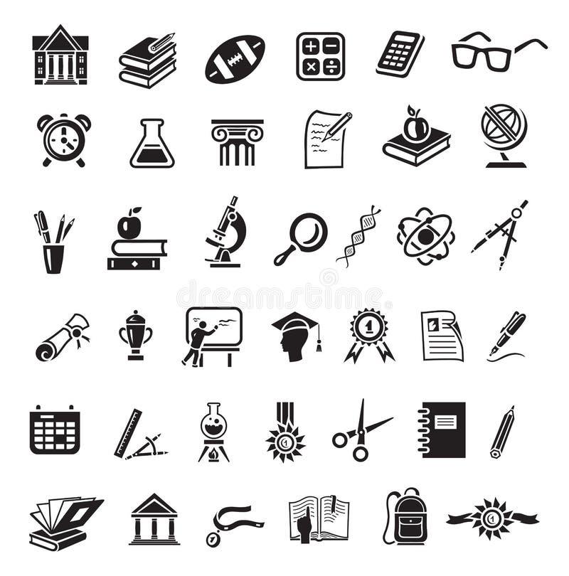 tła edukaci ikony odosobniony ustalony biel Czarny znak na szarym tle ilustracja wektor