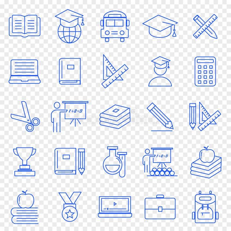 tła edukaci ikony odosobniony ustalony biel 25 ikon Wektorowa paczka royalty ilustracja