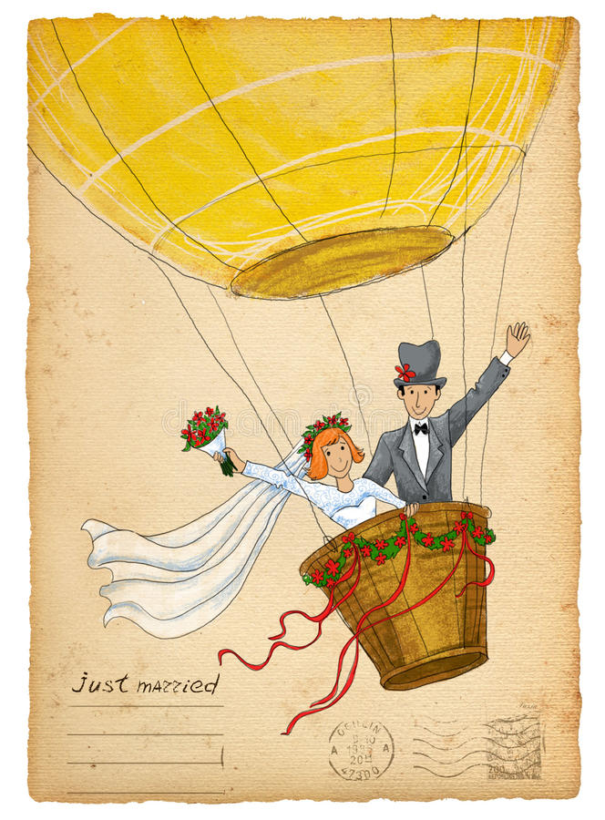 tła eleganci serc zaproszenia romantycznego symbolu ciepły ślub Śmieszny państwo młodzi na lotniczym balonie obraz royalty free