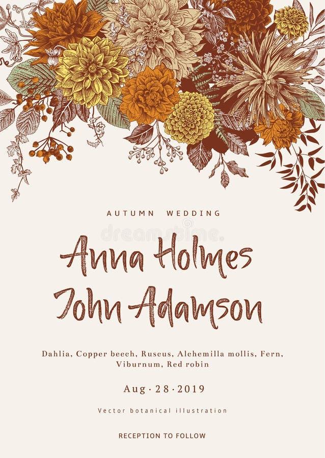 tła eleganci serc zaproszenia romantycznego symbolu ciepły ślub Lata i jesieni kwiaty Dalie, Ruscus, Viburnum Nowożytne florystyk ilustracji