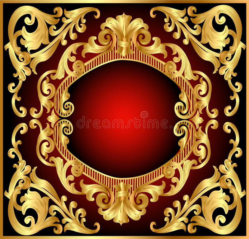 tła en ramowa złota wzoru czerwień ilustracja wektor