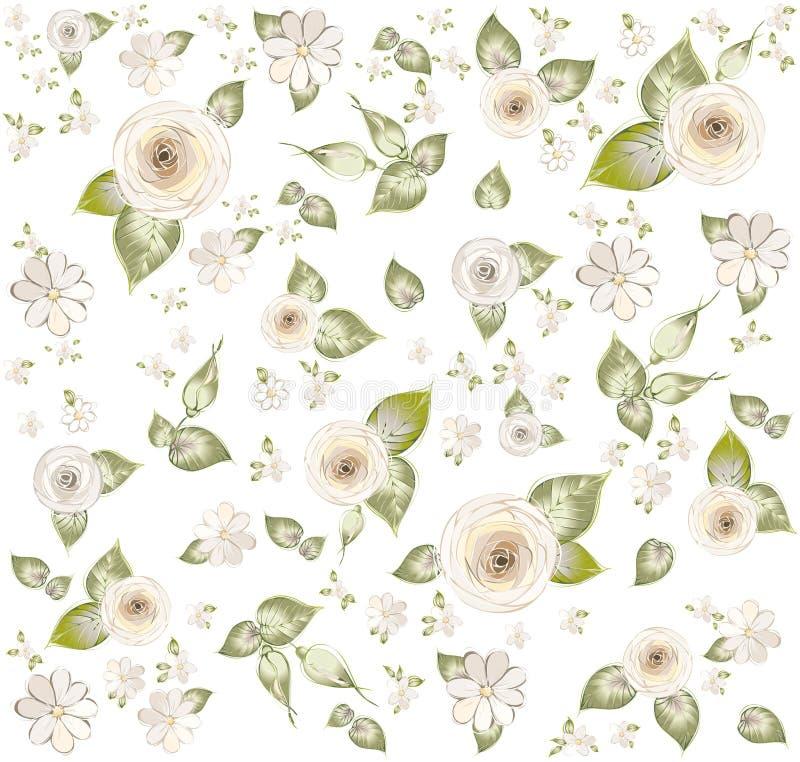 tła fashi kwiaty ornamentują bezszwowego ilustracja wektor