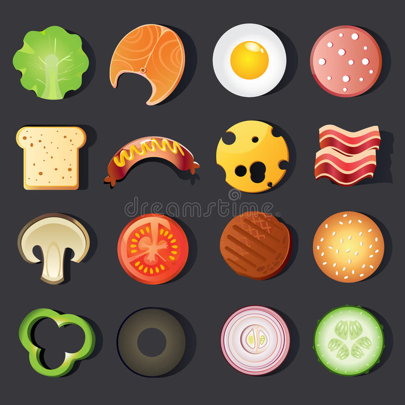 tła fasta food ikony odosobniony ustalony biel ilustracji