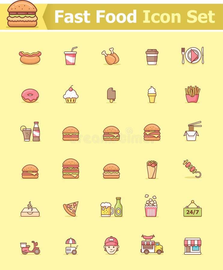 tła fasta food ikony odosobniony ustalony biel royalty ilustracja