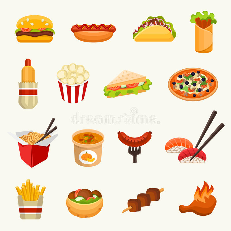 tła fasta food ikony odosobniony ustalony biel również zwrócić corel ilustracji wektora royalty ilustracja
