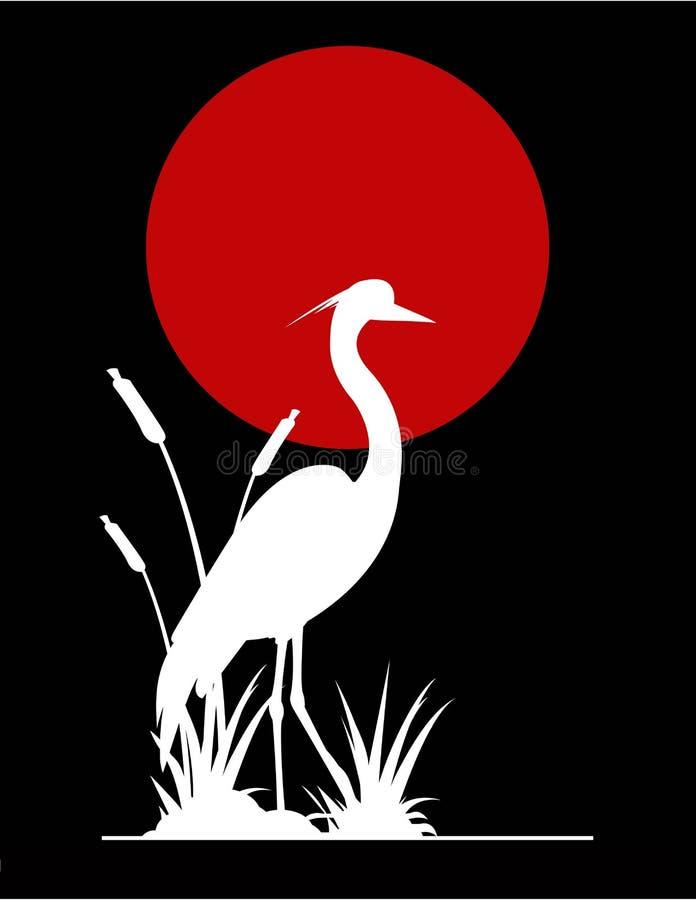 tła gigantycznej czapliej księżyc czerwona sylwetka royalty ilustracja