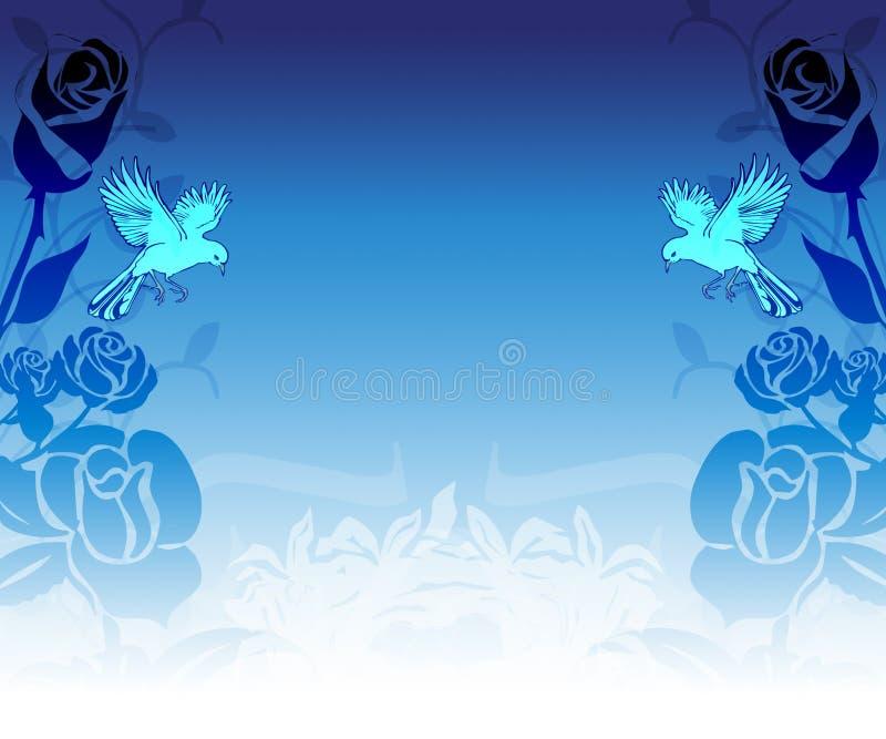 tła gołąbki róże ilustracji