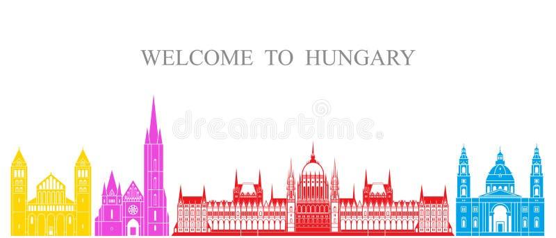 tła granic kraj wyszczególniać flaga Hungary ikony odizolowywali regionu ustalonego kształta biel Odosobniona Węgry architektura  ilustracja wektor