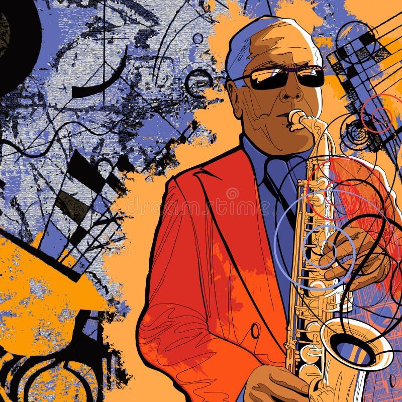 tła grunge saksofonista ilustracja wektor