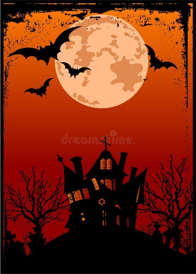 tła Halloween nawiedzający dom ilustracji