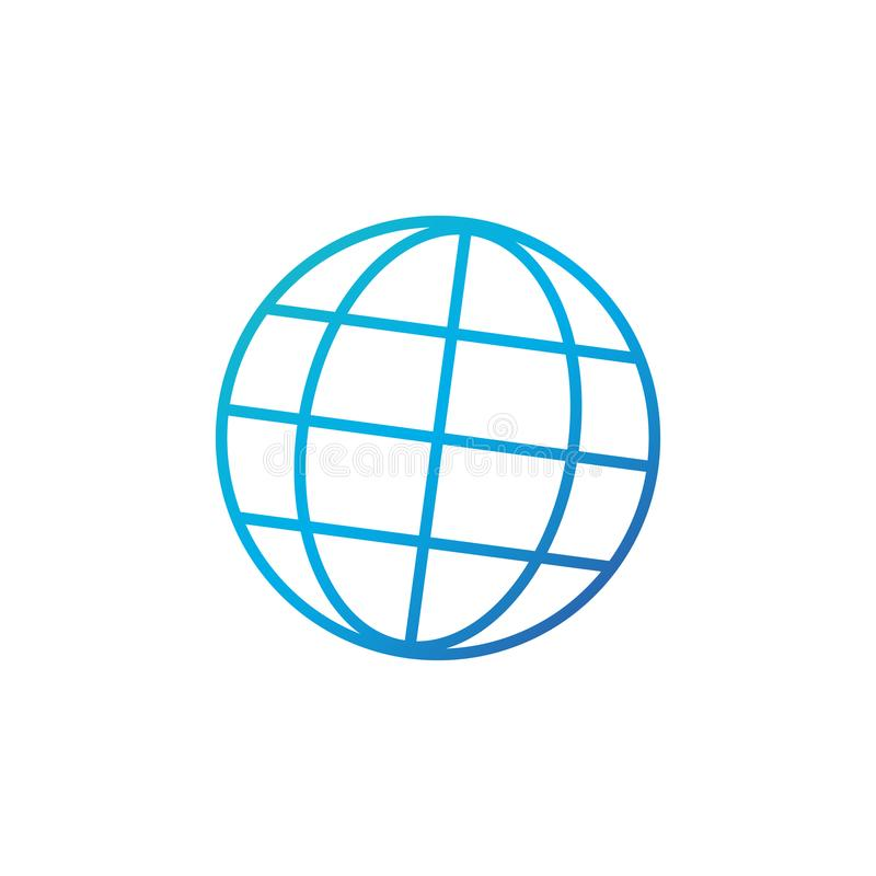 tła ikony ciągnikowej sieci kołowy biel Kreskowy interneta wektor Modny płaski światowy kuli ziemskiej ui znaka projekt Cienieje  royalty ilustracja