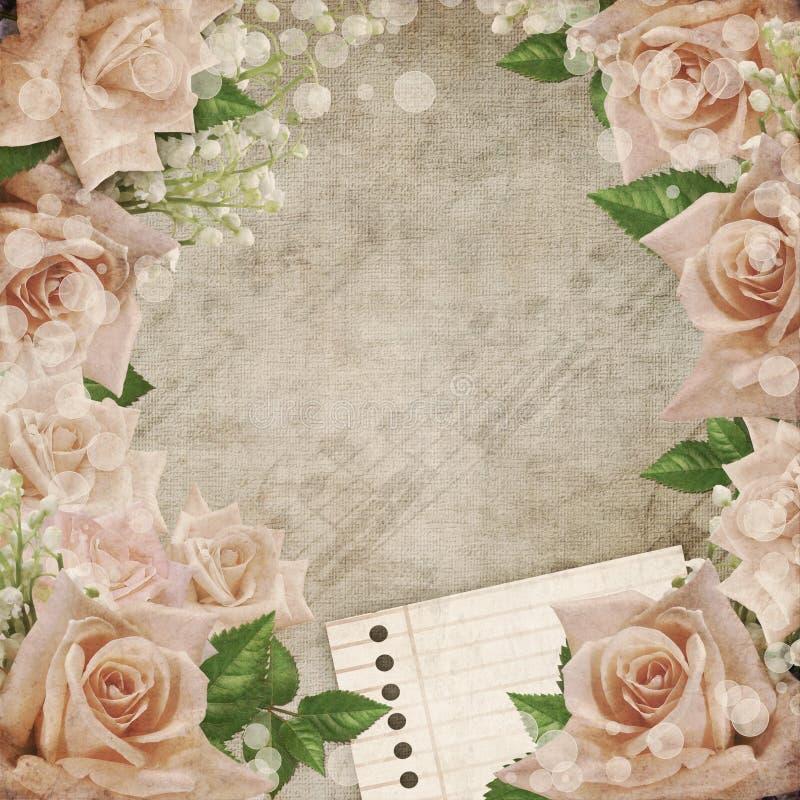 tła ith romantyczny róż rocznika ślub ilustracji