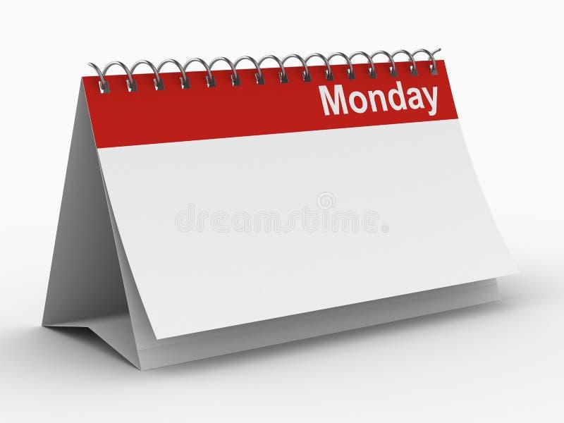 tła kalendarzowy Poniedziałek biel ilustracja wektor