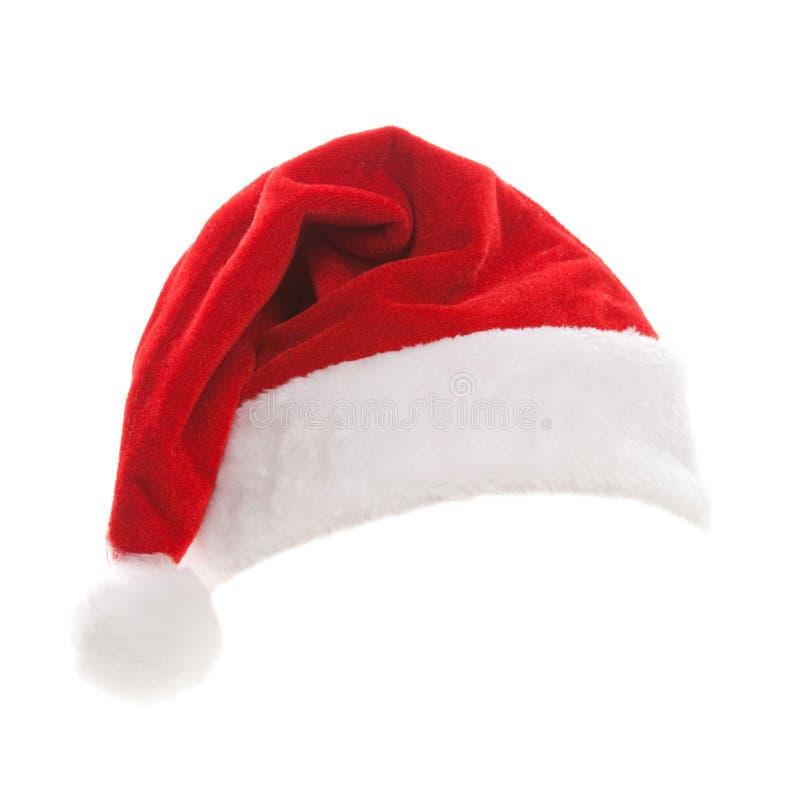 tła kapeluszu odosobniony Santa biel Szczęśliwi xmas wakacje Santa kapelusz przy studiiem fotografia stock