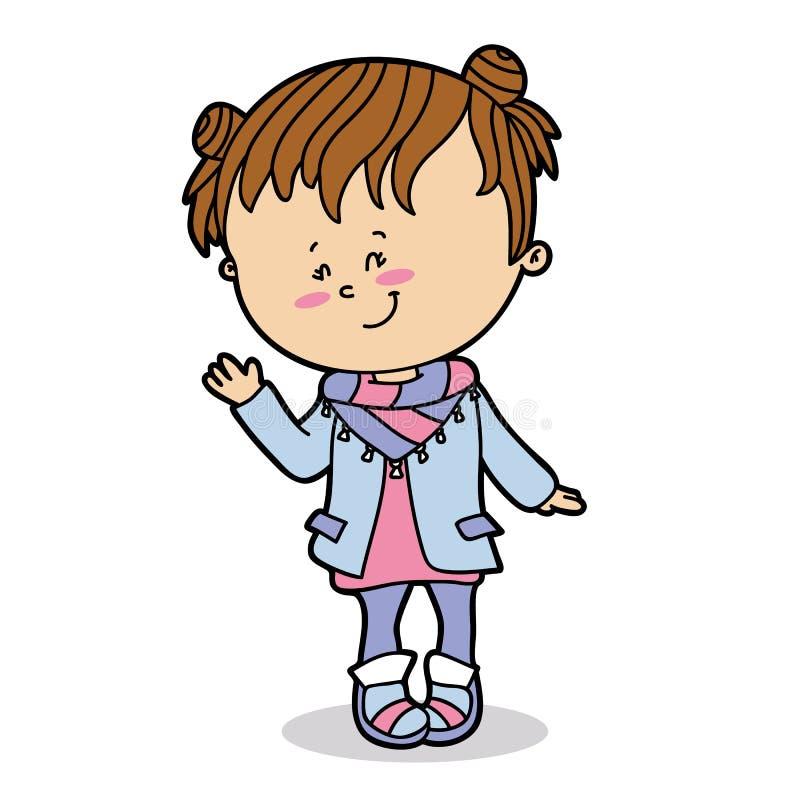 tła karciana kreskówki dziewczyny powitania strony szablonu cechy ogólnej sieć ilustracja wektor