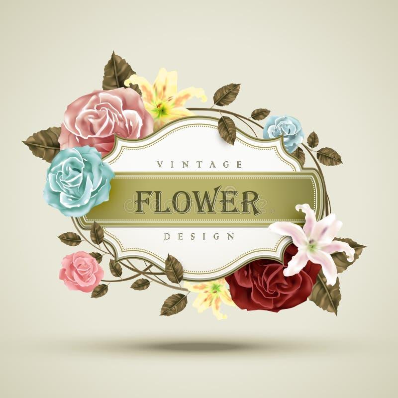 tła karcianego kwiecistego kwiatu stary petuni tekstury rocznik ilustracja wektor