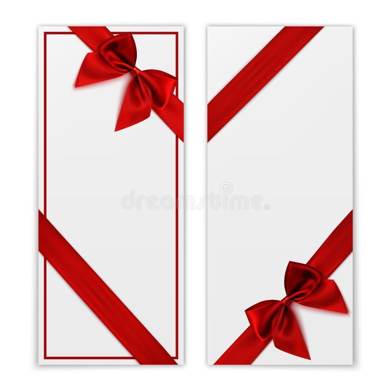 tła karcianego projekta kwiecista prezenta ilustracja twój Biali prezenta alegata szablony z czerwonym faborkiem ilustracja wektor