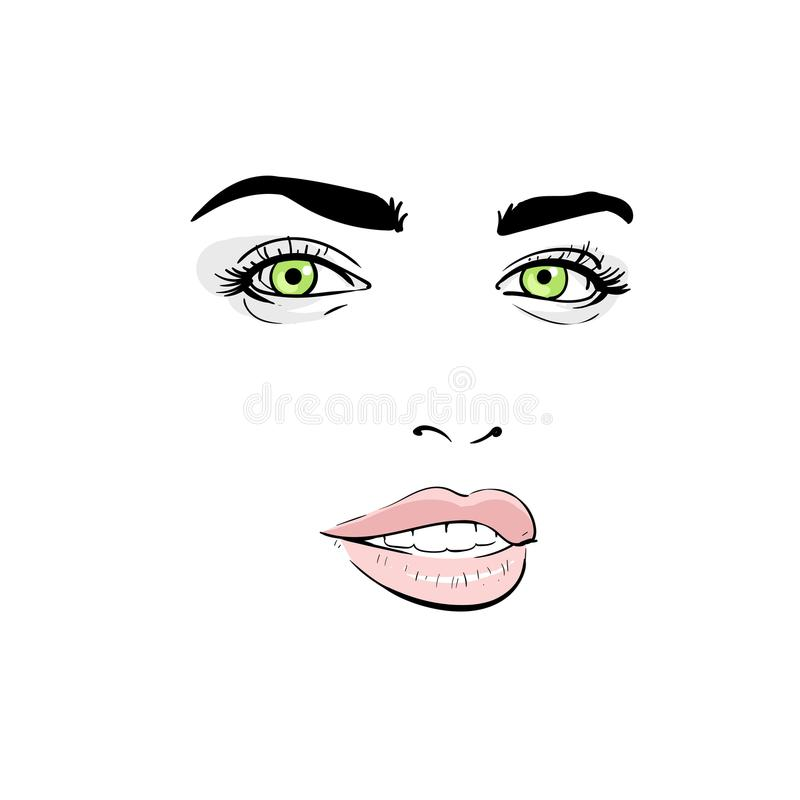 tła karcianej twarzy powitania strony szablonu ogólnoludzka sieci kobieta Portret kontury Cyfrowego nakreślenia ręki rysunek ilus ilustracja wektor
