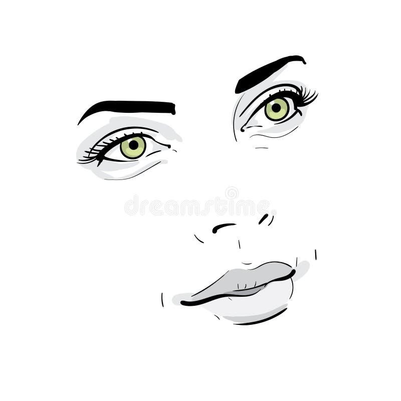 tła karcianej twarzy powitania strony szablonu ogólnoludzka sieci kobieta Portret kontury Cyfrowego nakreślenia ręki Rysunkowa il fotografia royalty free