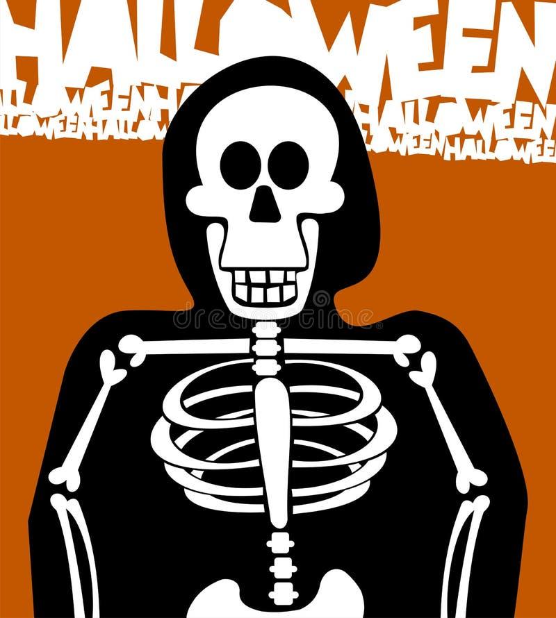 tła karciany Halloween kościec ilustracji