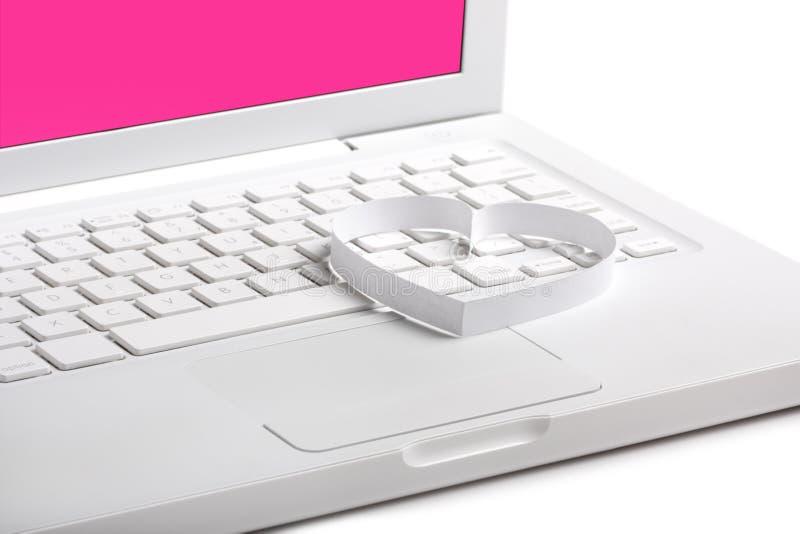 tła kierowego laptopu romansowy biel obraz royalty free