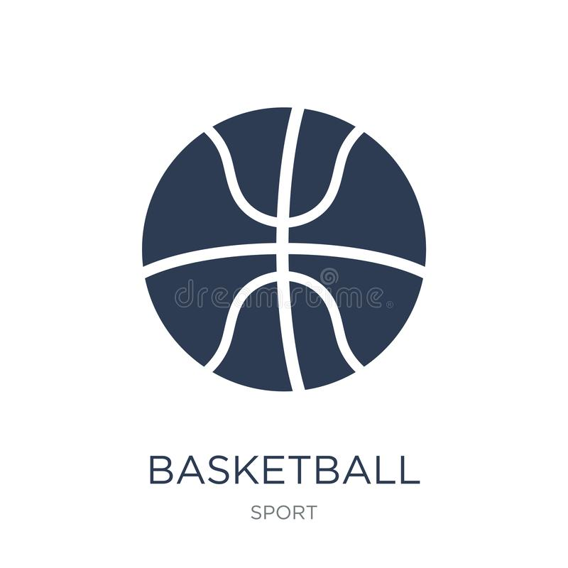 tła koszykówki ikony odosobniony biel Modna płaska wektorowa koszykówki ikona na białym bac royalty ilustracja