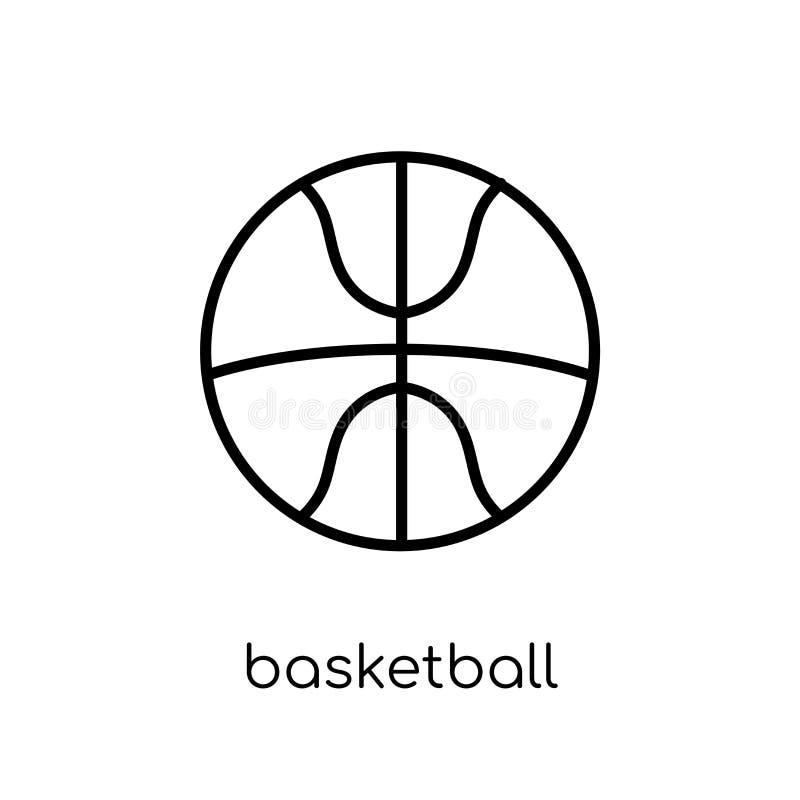 tła koszykówki ikony odosobniony biel Modny nowożytny płaski liniowy wektorowy koszykówki ico ilustracja wektor